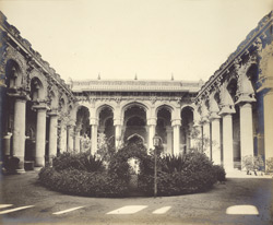 View of the interior hall and garden from the east, Tirumal Naick's Palace, Madura.